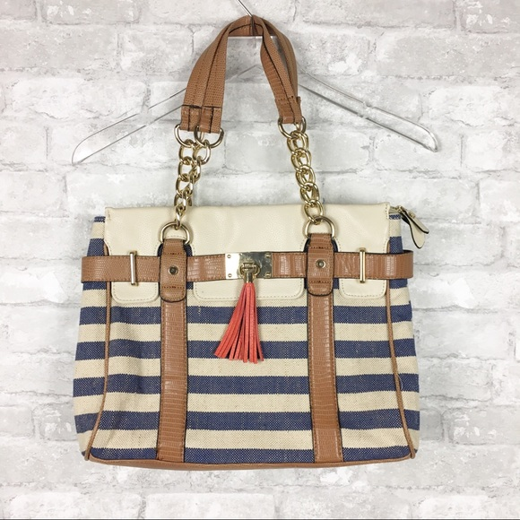 Aldo Handbags - Aldo Nautical Striped Chunky Gold Chain Purse